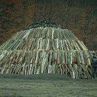 wood pile for burning charcoal at Zalan, Transylvania