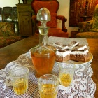 Welcome brandy & cake at Prince Charles guesthouse, Zalan, Transylvania. Photo: Kalnoky.